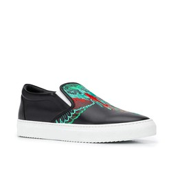 Giày Marcelo Burlon County Of Milan Embroidered Wings Slip-On Sneakers Màu Đen