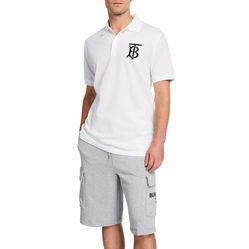 Áo Phông Burberry Men's Logo-Patch Polo Shirt Màu Trắng