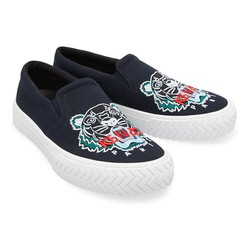 Giày Kenzo K-Skate Tiger Slip On Sneakers Black Màu Xanh Navy