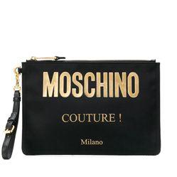 Túi Moschino Logo Clutch Bag Màu Đen