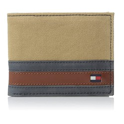 Ví Tommy Hilfiger Men's Leather Passcase Wallet Màu Khaki