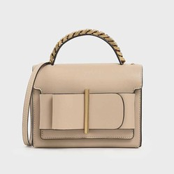 Túi Cầm Tay Charles & Keith Chunky Metal Top Handle Bow Flap Bag CK2-50680795-1 Màu Be