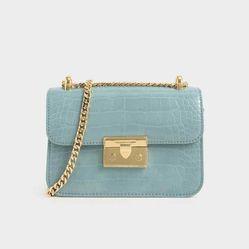 Túi Đeo Chéo Charles & Keith Croc-Effect Chain Strap Crossbody Bag CK2-80700998-4 Màu Xanh Blue