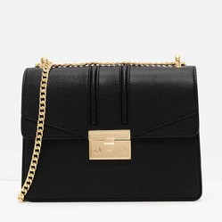 Túi Đeo Vai Charles & Keith Metallic Accent Chain Strap ShoulderBag CK2-20160069 Màu Đen