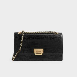 Túi Đeo Vai Charles & Keith Textured Chain Handle Bag CK2-20840180-5 Màu Đen