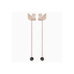 Khuyên Tai Swarovski Iconic Swan Pierced Earrings, Brown, Rose-Gold Tone Plated