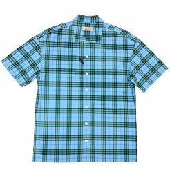 Áo Sơ Mi Ngắn Burberry London England Cotton Check Short Sleeve Shirt Sọc Xanh