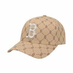 Mũ MLB Monogram Cured Adjustable Cap Boston Red Sox 32CPFH011-43B Màu Nâu