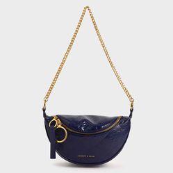 Túi Đeo Vai Charles & Keith Half Moon Crossbody Bag CK2-80150954-1 Màu Xanh Blue