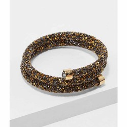 Vòng Đeo Tay Swarovski Crystaldust Brown-Gold Double Bangle