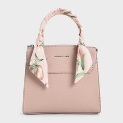 Túi Xách Charles & Keith Scarf-Wrapped Top Handle Bag Màu Hồng