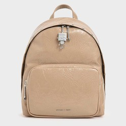 Balo Charles & Keith Robot Charm Wrinkled Patent Backpack Màu Be