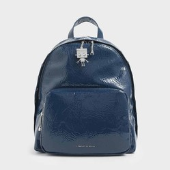 Balo Charles & Keith Robot Charm Wrinkled Patent Backpack Xanh Navy