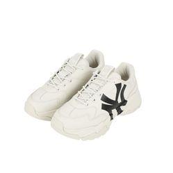 Giày Sneaker MLB Big Ball Chunky A New York Yankees Màu Trắng Logo Đen Size 235