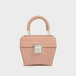 Túi Mini Charles & Keith Croc-Effect Mini Sculptural Bag Màu Hồng Đất