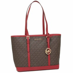 Túi Tote Michael Kors Jet Set Travel Small Zip Top Tote Shoulder Bag Signature Brown Scarlet Red