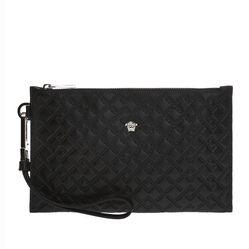 Túi Versace Clutch Bag With An Embossed Greek Pattern Màu Đen
