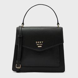 Túi Xách DKNY Whitney Leather Flap Satchel Màu Đen