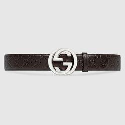 Thắt Lưng Gucci Signature leather belt Màu Nâu Size 85