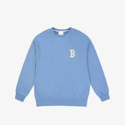 Áo Nỉ Sweatshirt MLB Tay Dài Cổ Tròn Popcorn Màu Xanh Blue