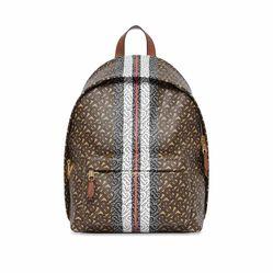 Balo Burberry Monogram Stripe Print E-Canvas Bridle Brown Backpack Màu Nâu