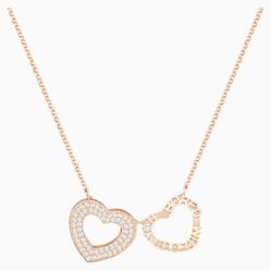 Dây Chuyền Swarovski Admiration Heart Necklace, White, Rose-Gold Tone Plated