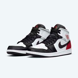 Giày Nike Jordan 1 Mid Se Red Black Toe Màu Đỏ Trắng