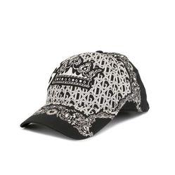 Mũ Dolce & Gabbana Patterned Black Cotton Baseball Cap Màu Đen Trắng
