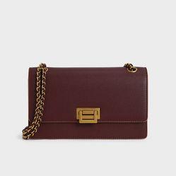 Túi Xách Charles & Keith Chain Strap Push-Lock Shoulder Bag Ck2-20840219-6 Màu Đỏ Mận