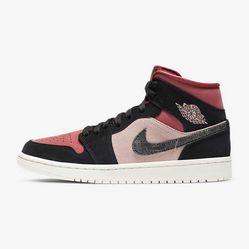 Giày Thể Thao Nike Jordan 1 Mid Canyon Rust Màu Đen Đỏ