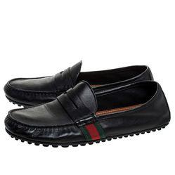 Giày Lười Gucci Black Leather Web Penny Loafers Màu Đen