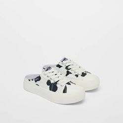 Giày Zara Hở Gót Họa Tiết Chuột Mickey – Disney Màu Trắng Đen Size 37