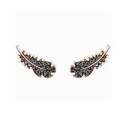 Khuyên Tai Swarovski Naughty Pierced Earrings, Black Crystals, Rose-Gold Tone Plated