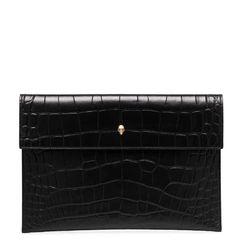 Túi Clutch Alexander Mcqueen Croc Effect Envelope Clutch Bag Màu Đen