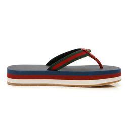 Dép Xỏ Ngón Gucci Bedlam Web Thong Sandals - Navy/Hibiscus Red