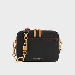 Túi Đeo Chéo Charles & Keith Double Zip Crossbody Bag Black CK2-81200008 Màu Đen