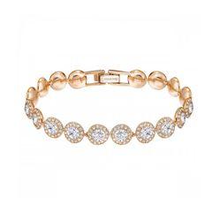 Vòng Đeo Tay Swarovski Angelic Bracelet, Round White Crystals, Rose-Gold Tone Plated
