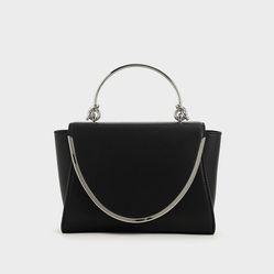 Túi Cầm Tay Charles & Keith Metallic Trimmed Front Flap Bag CK2-50270521 Black Màu Đen