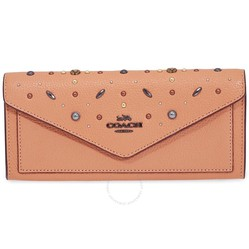 Ví Cầm Tay Coach Ladies Continental Wallet Leather Blush Prairie Rivet  Màu Cam Hồng