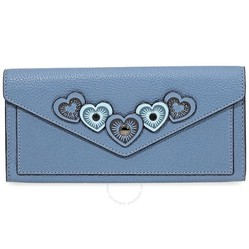 Ví Cầm Tay Coach Ladies Continental Leather Wallet- Chambray Blue Màu Xanh Blue