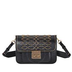 Túi Đeo Chéo Michael Kors Sloan Studded Leather Shoulder Bag - Black Màu Đen