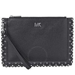 Ví Cầm Tay Michael Kors Medium Scallop Leather Zip Pouch- Black Màu Đen