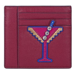 Ví Card Tory Burch Martini Applique Square Card Case - Imperial Garnet Màu Đỏ Đô