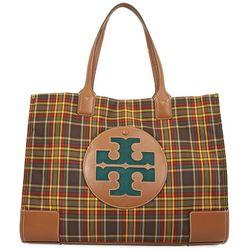 Túi Tote Tory Burch Ella Plaid Tote- Green Shetland Wool  Màu Nâu