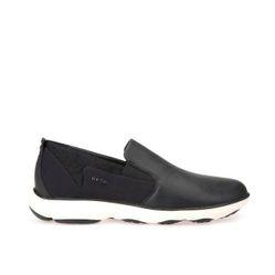 Giày Slip On Nam Geox U NEBULA E TUMB.LEA+TEXTILE Màu Đen  Size 44