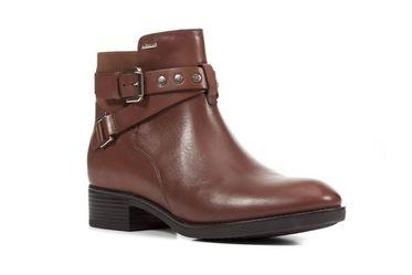 Boots Nữ Gót Vuông Geox MAROCCO Phối Dây Cài Màu Nâu Size 35