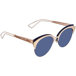 Kính Mát Dior Diorama Club Blue Mirror Shaded Gold Oval Ladies Sunglasses DIORAMACLUB 2BN/A9 55