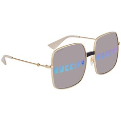 Kính Mát Gucci Grey Mirror Oversized Ladies Sunglasses GG0414S 002 60