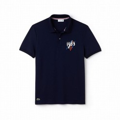 Áo Phông Men's Lacoste Slim Fit 1933 Lettering Stretch Mini Pique Polo Xanh Navy