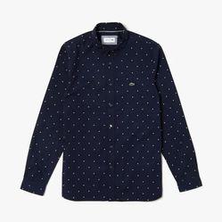 Áo Sơ Mi Lacoste Men's Slim Fit Print Cotton Poplin Shirt Màu Xanh Navy